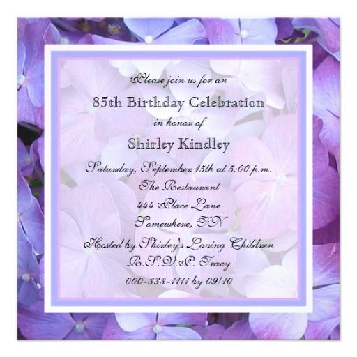 85th birthday party invitation hydrangeas 161014357945193362