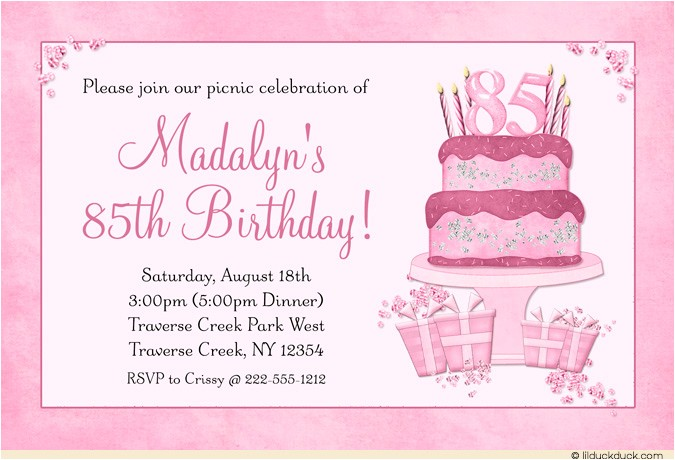 85th birthday invitations