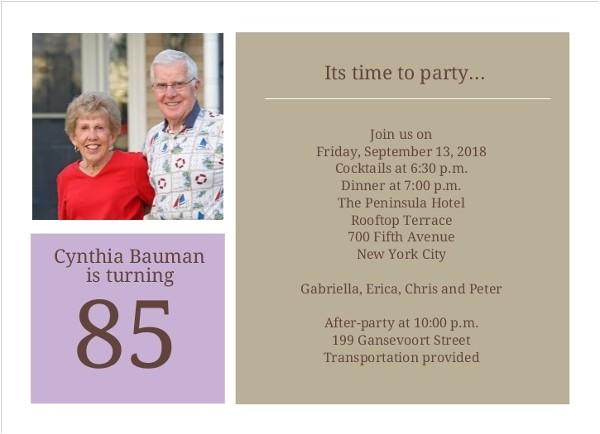 simple squares 85th birthday invitation