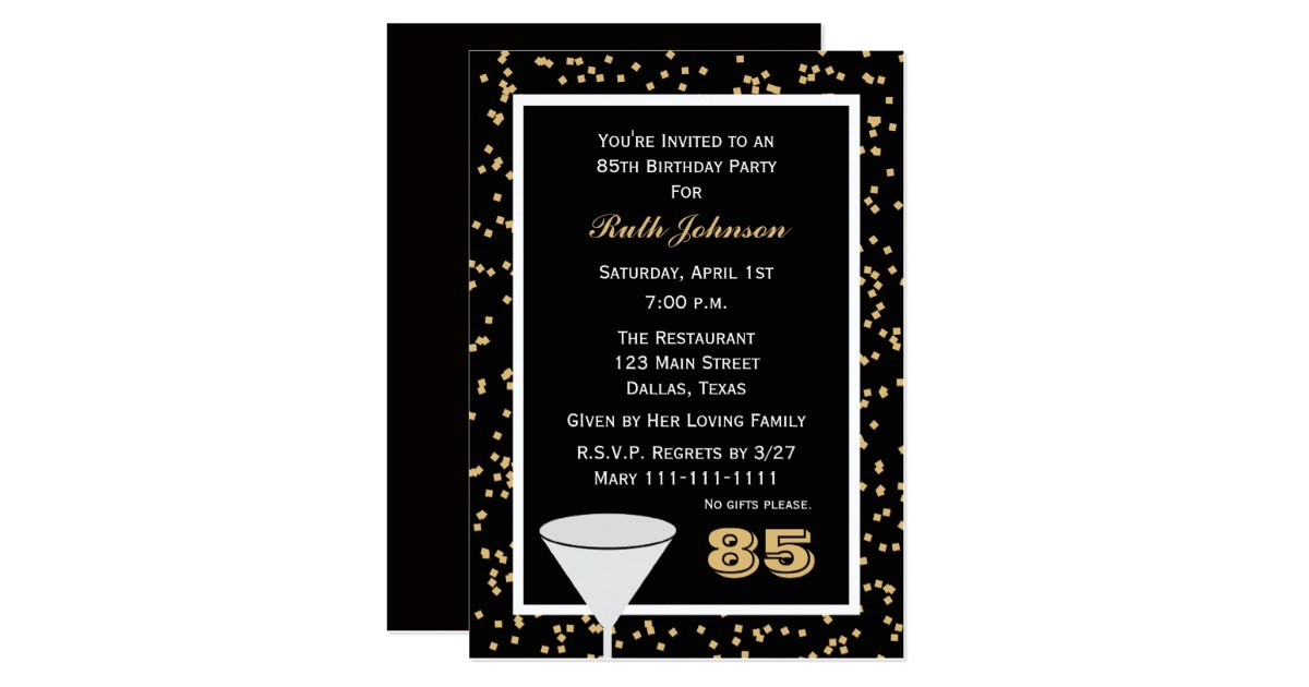 85th birthday party invitation 85 and confetti