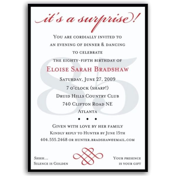Classic 85th Birthday Red Surprise Invitations p 607 57 85s