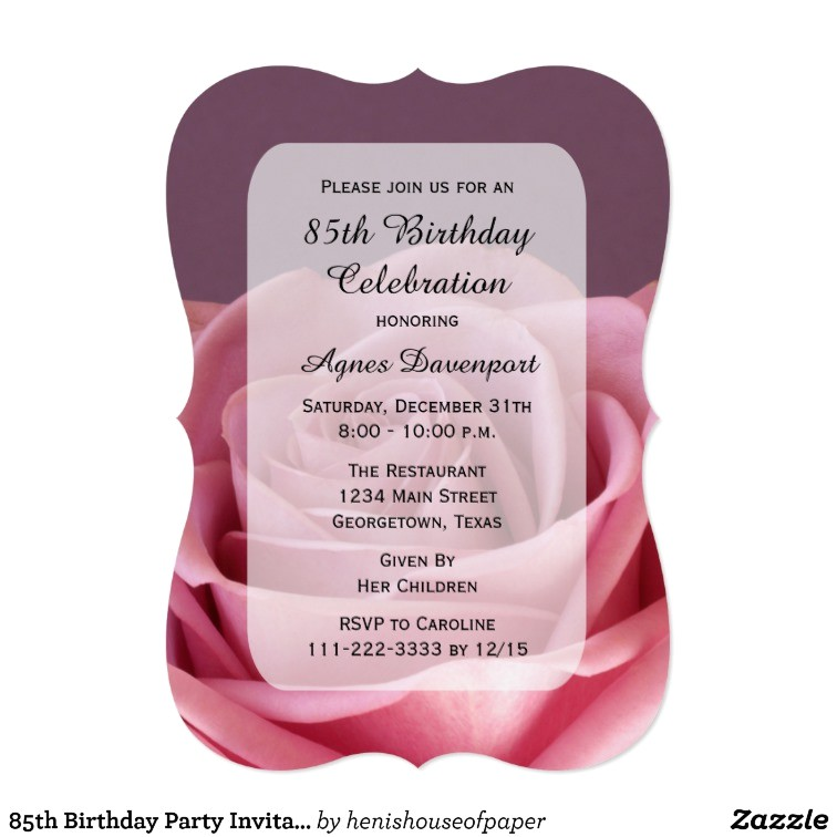 85th birthday party invitation lovely rose