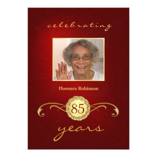 85th birthday party photo invitations red