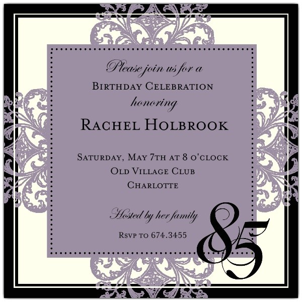 85th Birthday Invitations Decorative Square Border Eggplant 85th Birthday