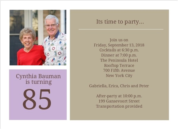 simple squares 85th birthday invitation