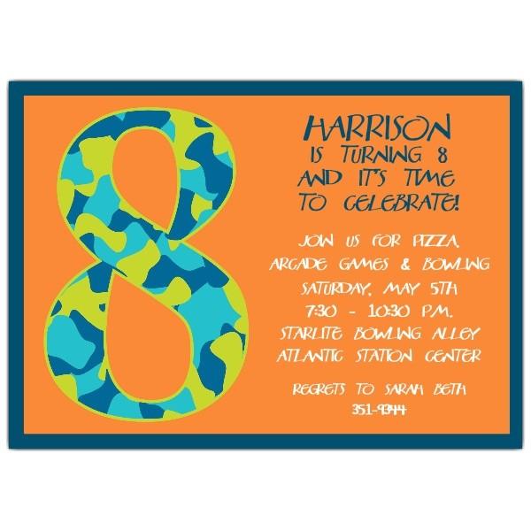 Birthday Boy Camo 8th Birthday Invitations p 602 57 1050
