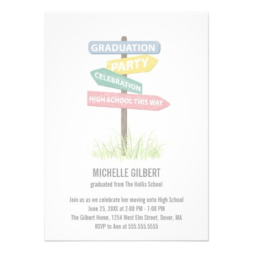 street sign 8th grade gradution party invitation 161417440040441662