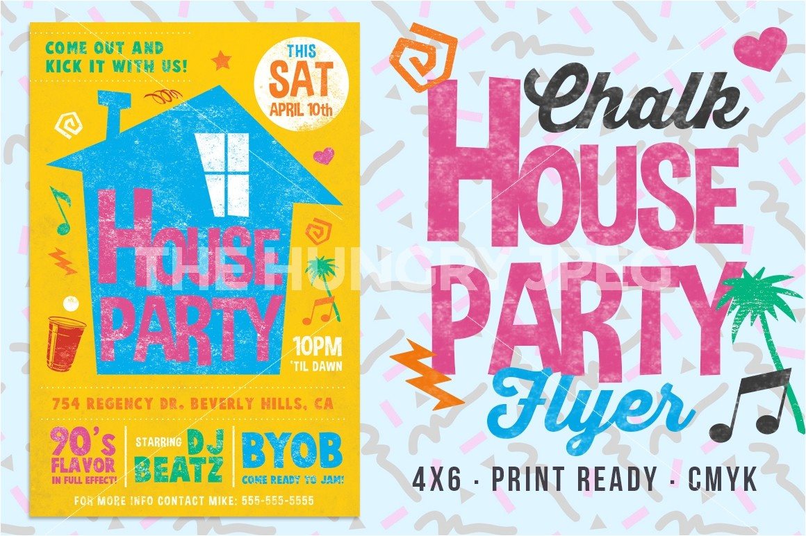 3478 chalk house party 90 s retro flyer