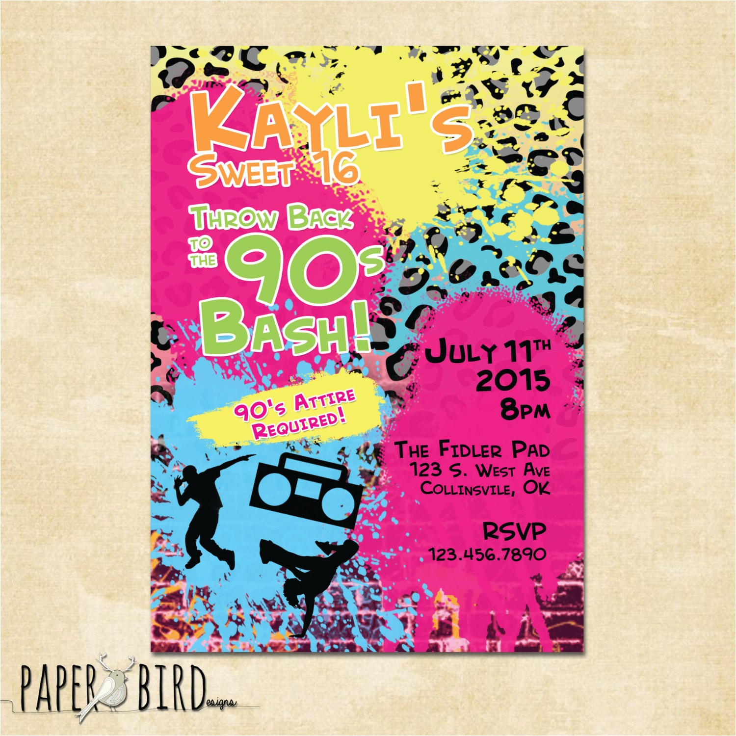 90s throwback birthday invitation custom