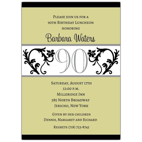 Elegant Vine Chartreuse 90th Birthday Invitations p 604 57 EVC90