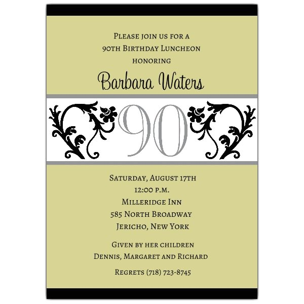 Elegant Vine Chartreuse 90th Birthday Invitations p 604 57 EVC90