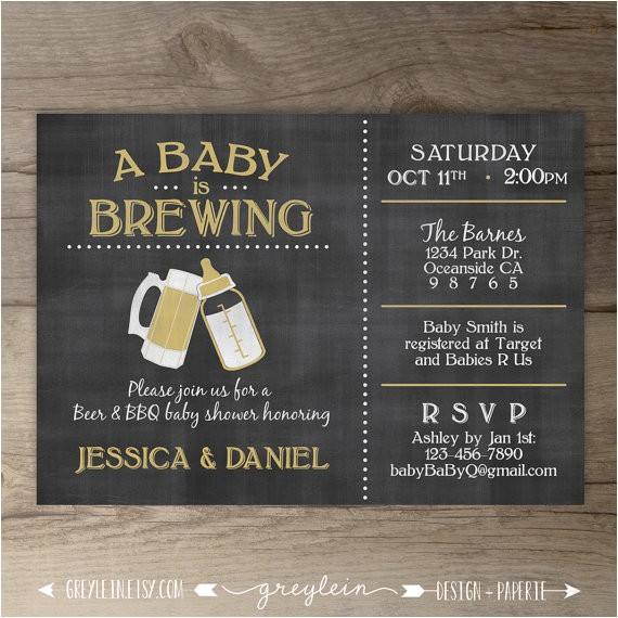 A Baby is Brewing Baby Shower Invitations A Baby is Brewing Brewery Baby Shower Invitation Guy