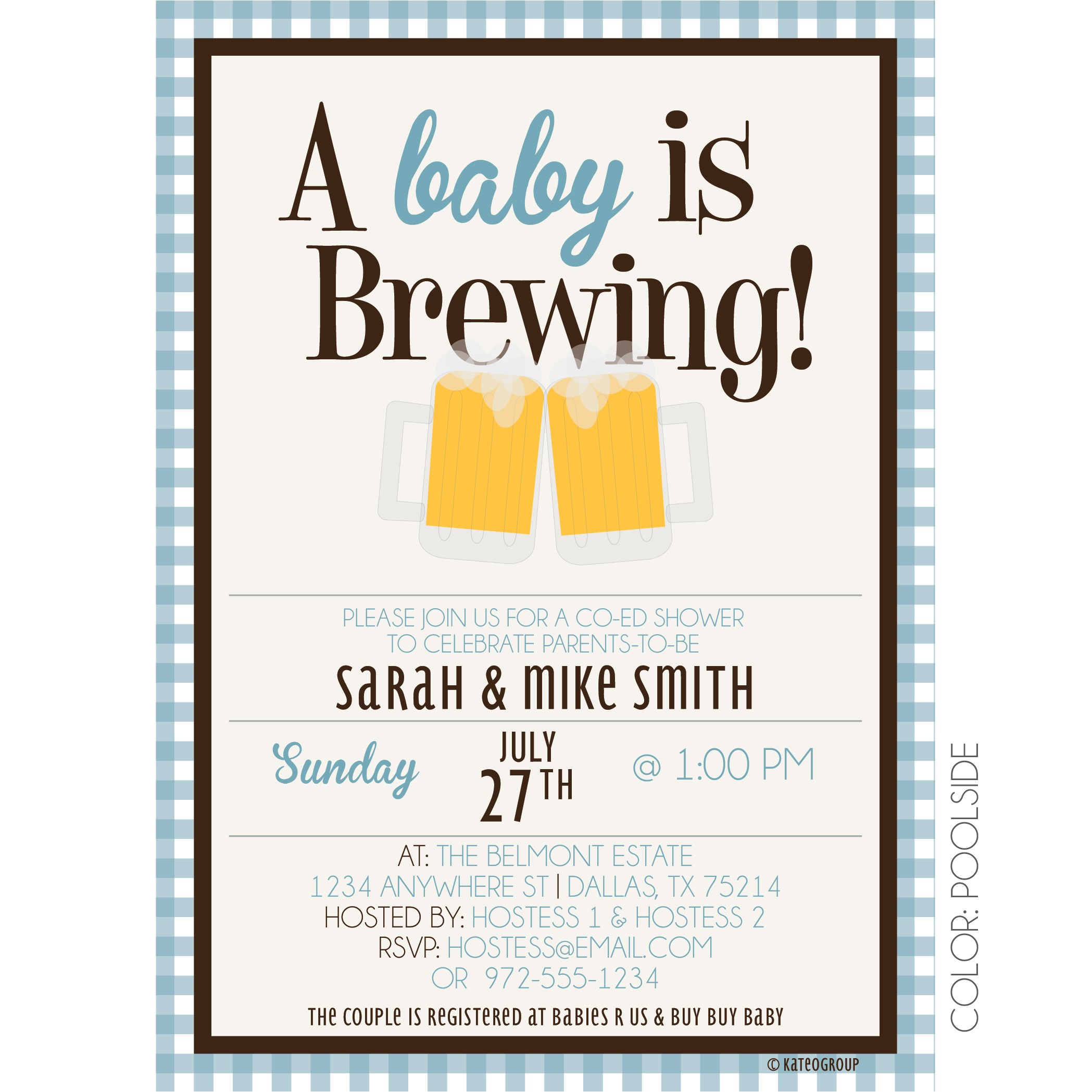 baby is brewing shower invitation beer mugs