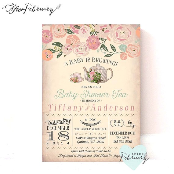 baby shower tea party invitation a baby