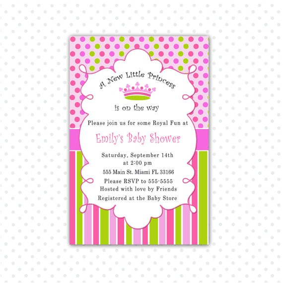 A New Little Princess Baby Shower Invitations New Little Princess Baby Shower Invitation Card Pink Polka