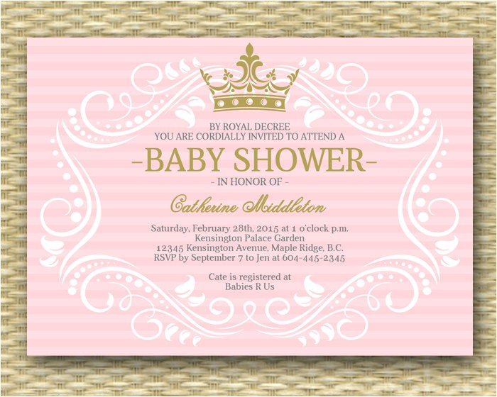 royal princess baby shower invitation