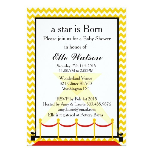 a star is born hollywood baby shower invitation