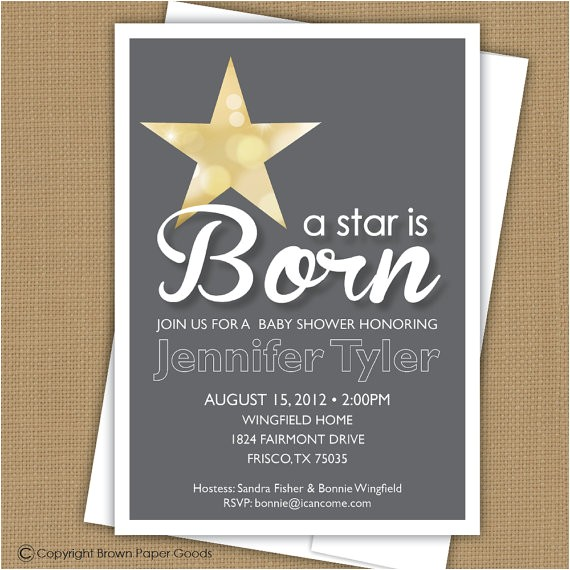 A Star is Born Baby Shower Invitations Baby Shower Invitation A Star is Born by Brownpaperstudios