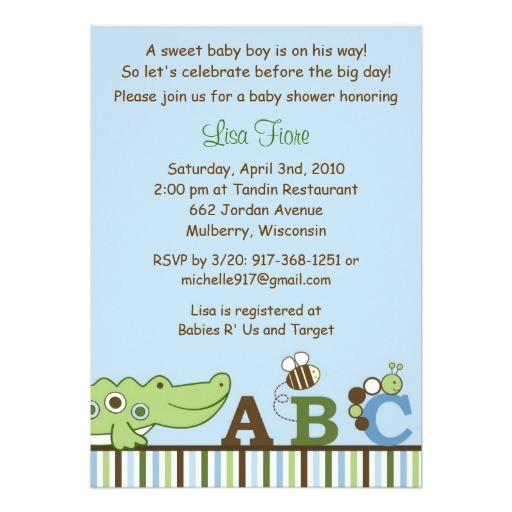 abc animal alphabet baby shower invitations
