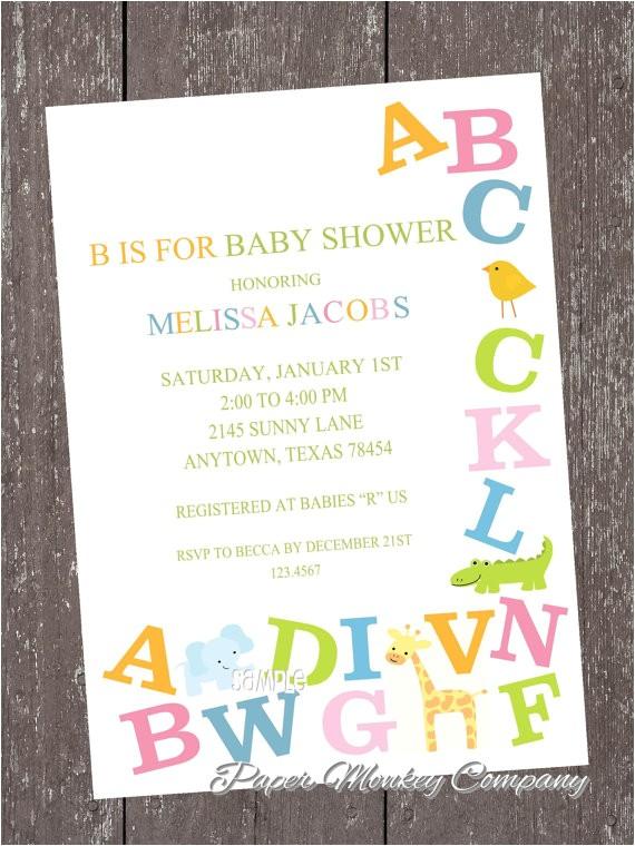 Abc Baby Shower Invitations Alphabet Baby Shower Invitations