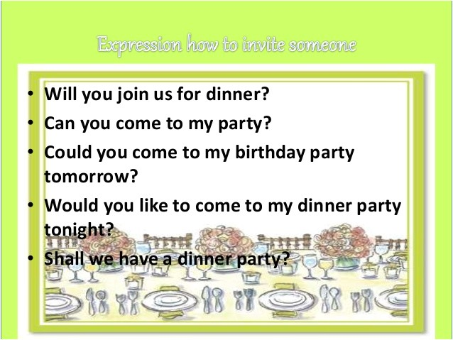 accepting invitation birthday party