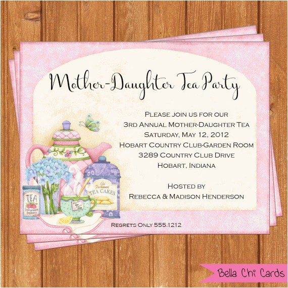 motherdaughter tea invitation bridal