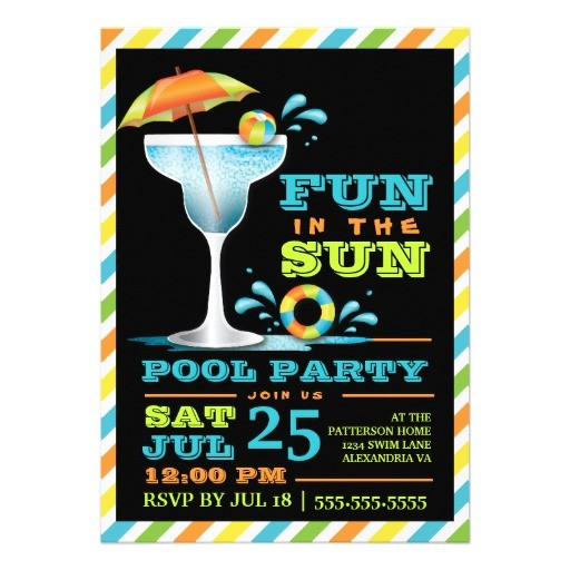 "Adult Pool Party Invitations Adult Fun In Sun Pool Party Cocktail Invitation 5"" X 7"