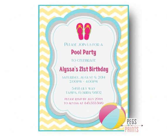adult pool party invitation beach birthday