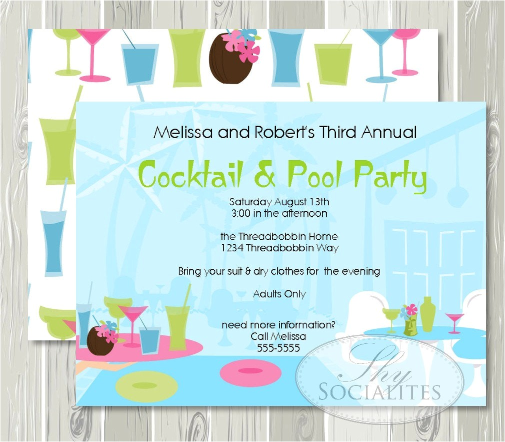 cocktail pool party invitation adult