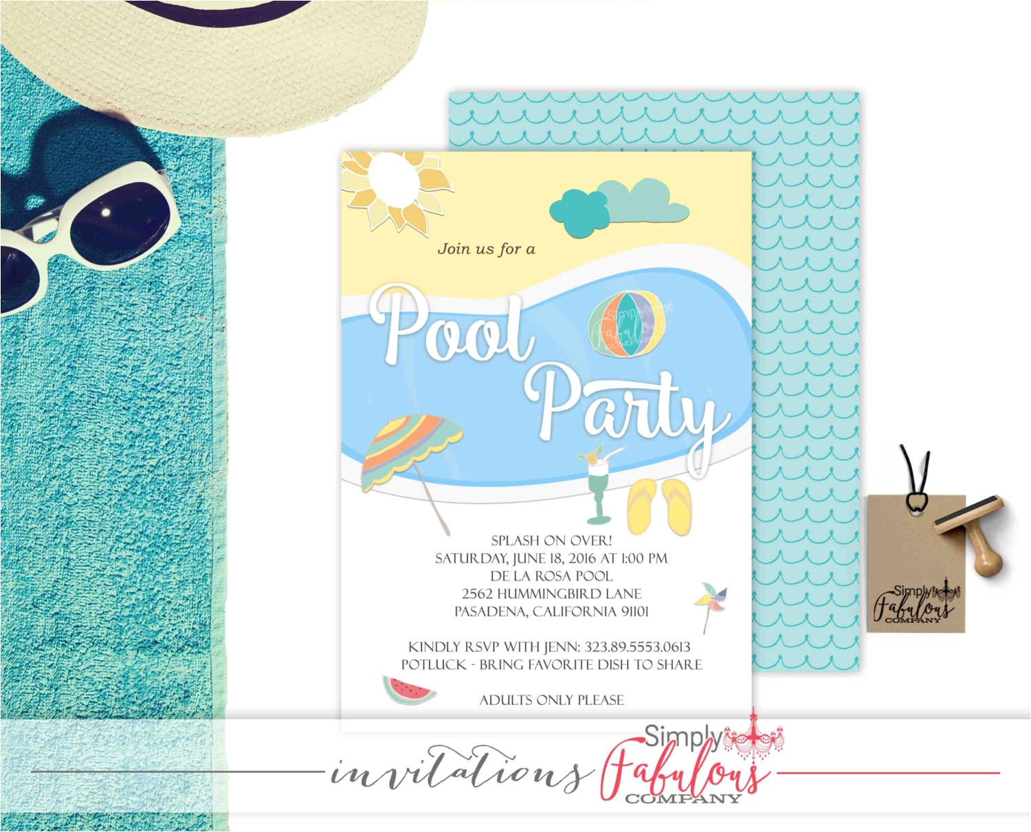 pool party invitation adult pool party