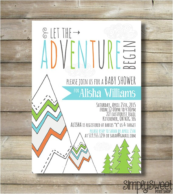 adventure baby shower invite invitation