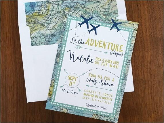 adventure maps baby shower invite