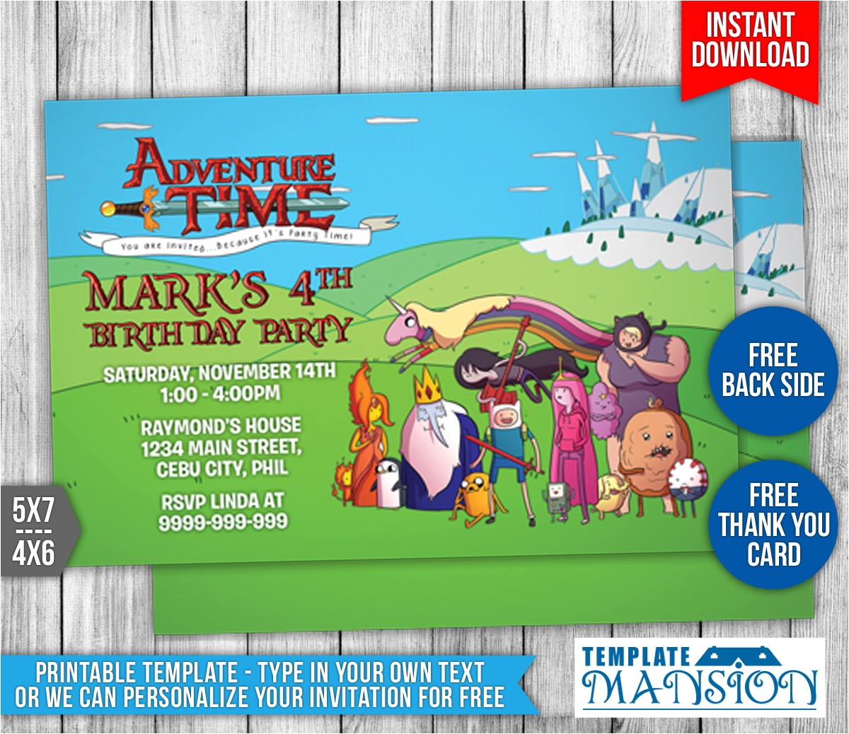 adventure time birthday invitation template 1 570936477