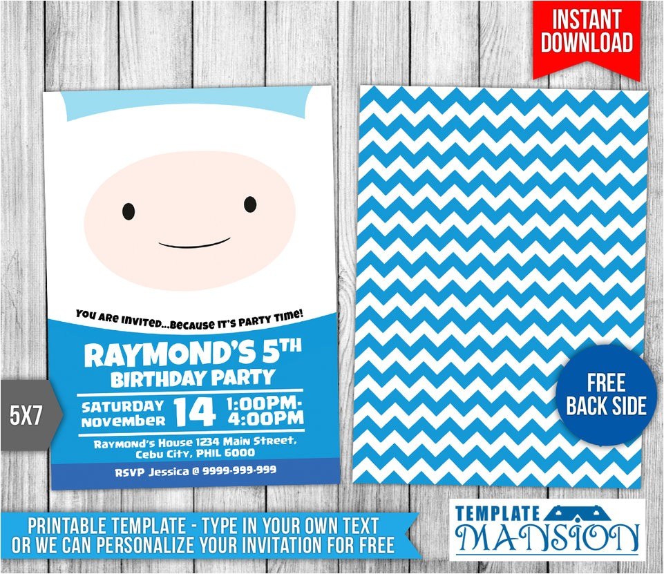 Adventure Time Party Invitation Template Adventure Time Birthday Invitation Template 2 by