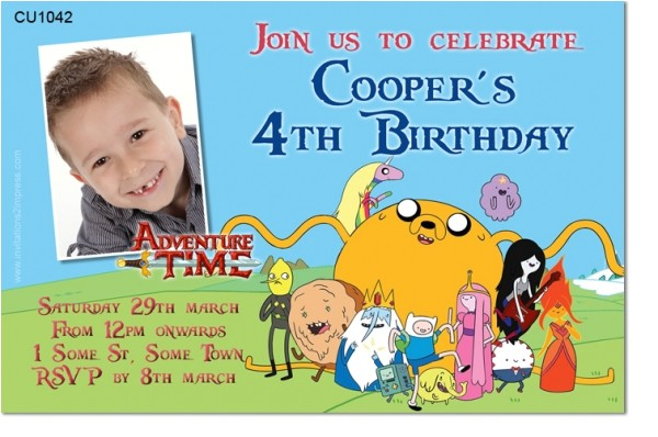 cu1042 adventure time birthday invitation