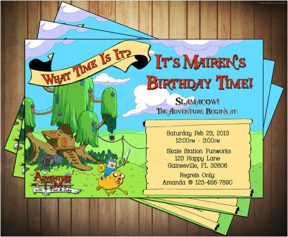 adventure time invitations