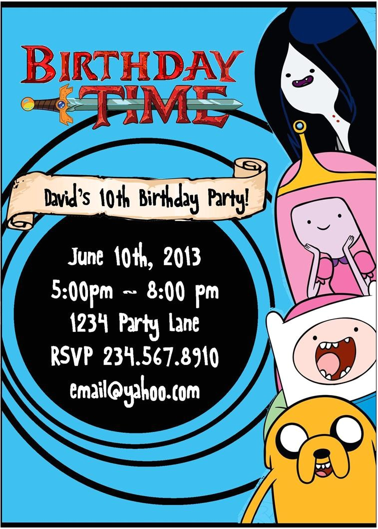 printable adventure time invitations