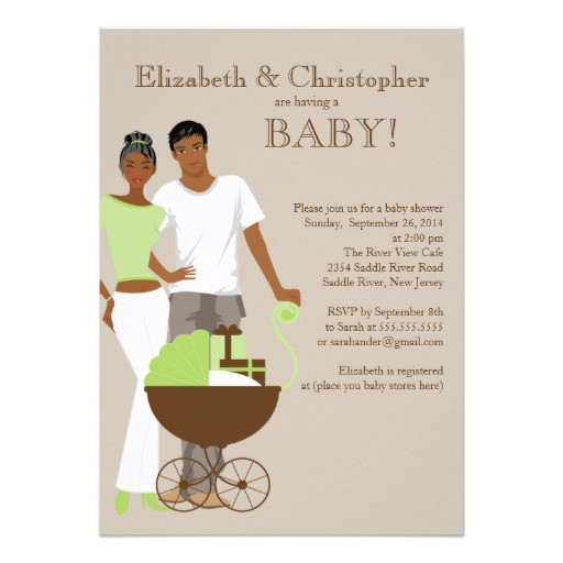 african american couple gender neutral baby shower invitation