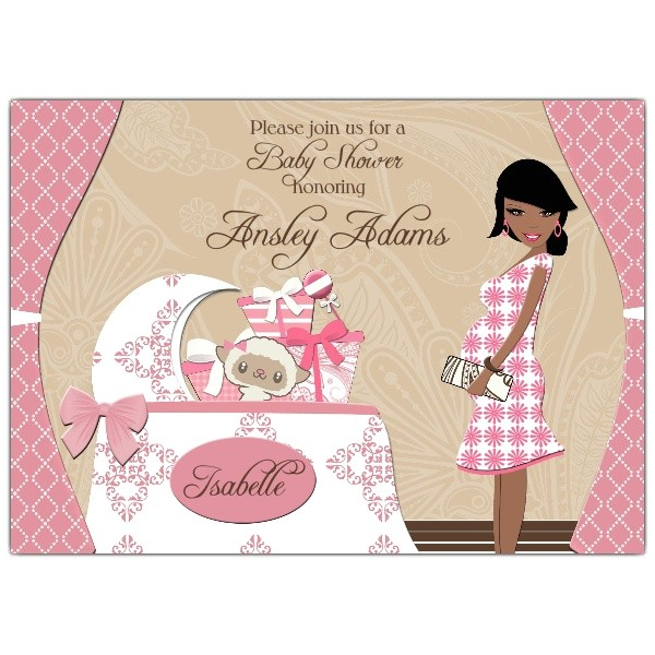 Chic Nursery Girl African American Baby Shower Invitations p 606 75 BS05 AA