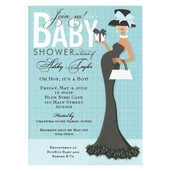 Glam Aqua African American Mom Baby Shower Invites p 109 IN 283