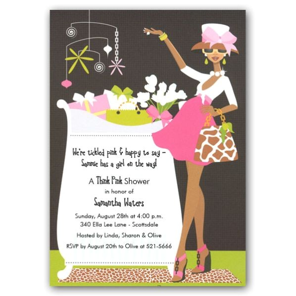 Glam Crib Girl African American Baby Shower Invites p 109 IN 236