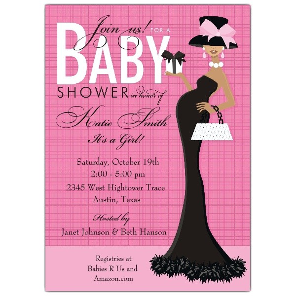 Glam Mom African American Girl Shower Invitations p 614 57 IN282