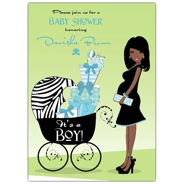 Hot Mama African American Blue Baby Shower Invitations p 606 57 KSB