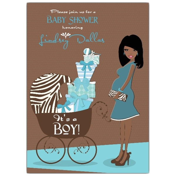 Hot Mama African American Pink Brown Baby Shower Invitations p 606 57 YSP AFR