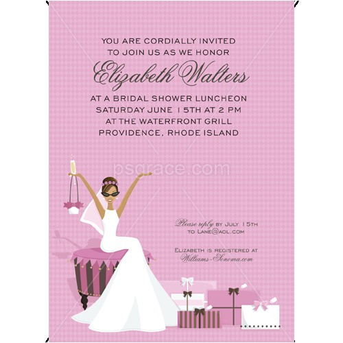 african american glamour bridal shower invitations