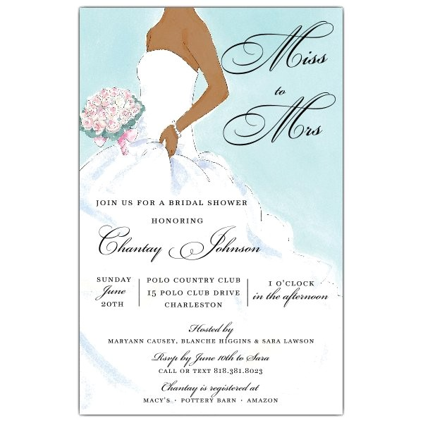 Beautiful Bride Blue African American Shower Invitations p 612 58 DITB