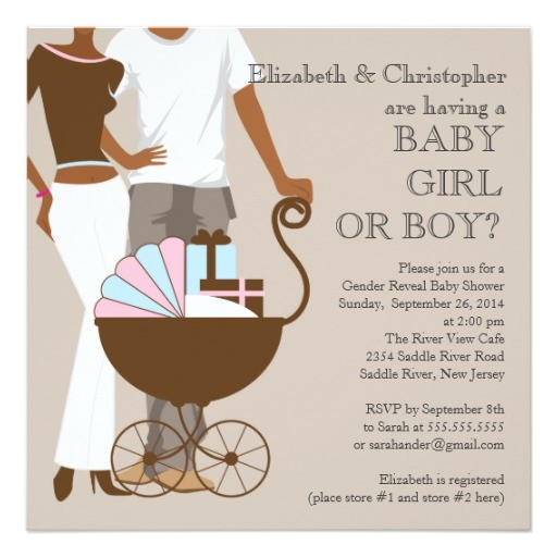 african american couple gender reveal baby shower invitation