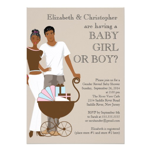 african american couple gender reveal baby shower card