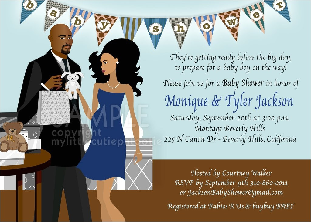 baby bump shower invitation chic banner couple blue brown african american