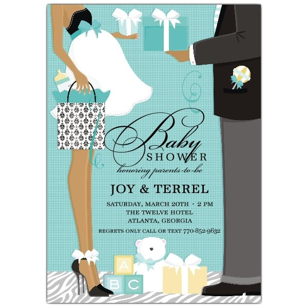 Classic Couple African American Blue Shower Invitations p 614 57 1202
